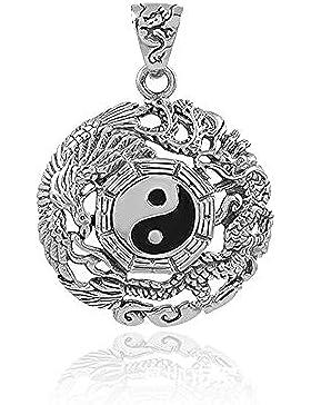 UM Schmuck Cool Yin Yang Halskette graviert Drachen Phönix Twining, Schwarz Silber, 60cm Ball Kette