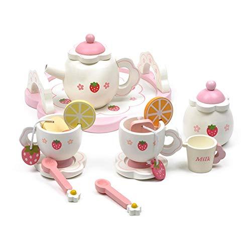 Kinder Teeservice Set Holz, Rollenspiel Küchenspielzeug, Süßes Mini Tee Set Spielzeug, Kinder Rollenspiele Puppenkaffeeservice für die Kinderküche