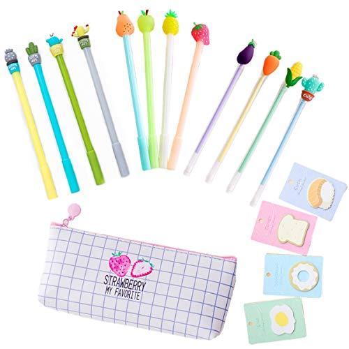 Schöne Gel Pen Set mit 12 niedlichen Muster Stifte 1 Canvas Federmäppchen 4 Haftnotizen für Schule Geschenk Mark Zeichnung Black Gel Ink Office Schreibstifte kommen