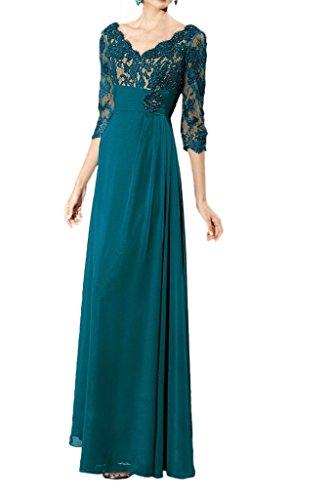 Promgirl House Damen Elegant Gruen A-Linie Abendkleider Brautmutter Ballkleider Lang mit Aermel Grün