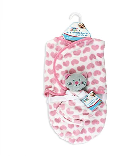 Baby Wickeldecke Kuscheldecke mit Schmusetuch Baby Wrap Neugeborenen Pucken Schlafsack (Rosa Katze)