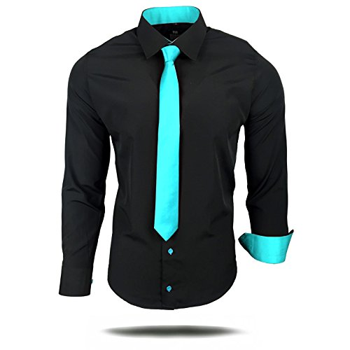 Rusty Neal Herren Kontrast Hemd Schwarz Slim Fit Black Edition mit Krawatte Schwarz / Orange