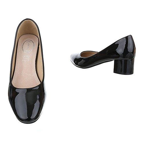 Ital-Design Komfort Pumps Damen Schuhe Geschlossen Blockabsatz Bequeme Pumps Schwarz