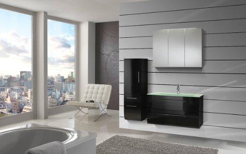 #SAM® Design Badmöbel-Set Zürich, 90 cm, in Hochglanz schwarz, 3tlg. Badezimmer mit Softclose-Funktion, 1 Waschplatz mit Milchglasbecken grün, 1 Spiegelschrank, 1 Hochschrank#