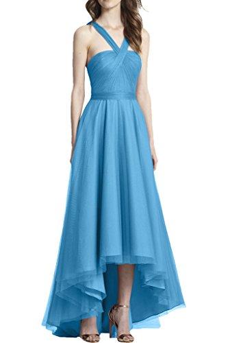 Promgirl House Damen Elegant Traeger A-Linie Abendkleider Ballkleider Cocktailkleider Party Lang Blau