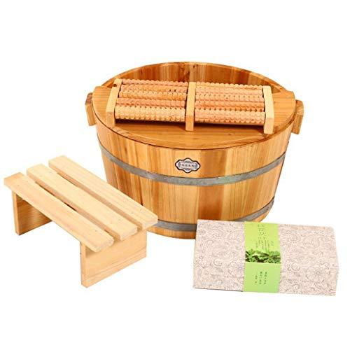 K-Flame Bois Massif Maison Bains de Pieds Bain de Pieds Massage des Pieds Bain Lisse et Fine pédicure barils de pédiluve Acupuncture,C,33 * 19cm