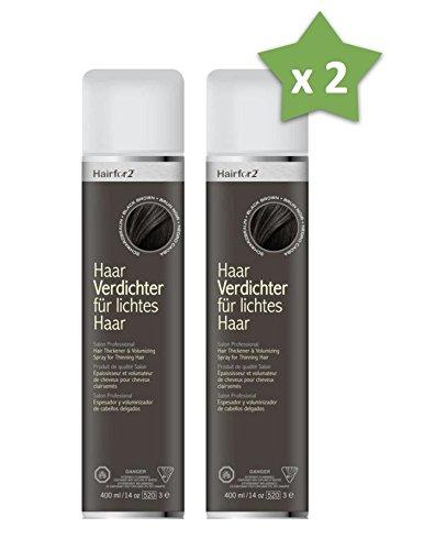 2 x Hairfor2 400 ml. Haarverdichter Spray Streuhaar Schütthaar Microhairs Hair Fiber, Farbe:Hell Braun