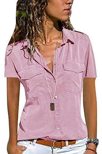 Yieune Bluse Damen Elegant Oberteil Chiffon Langarmshirt Casual V-Ausschnitt Tunika T-Shirt Tunika Hemd (Rosa M)