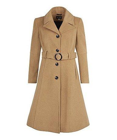 Anastasia - Frauen Winter-Kaschmir mit Gürtel Mantel, Kamel, Größe 38 (Kaschmir Einreiher Mantel)
