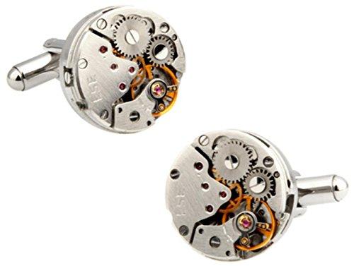 Chnuo 1 Paar Vintage mechanische Uhr Kernform Klassische Manschettenknöpfe für Ihre Freunde Geschenke, Durchmesser 2,0 cm