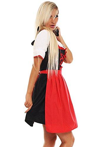 4211 Costume pour femme 3 tlg.trachtenkleid fashion4Young mini robe tablier blouse costume fête de la bière (oktoberfest) - Rouge/noir