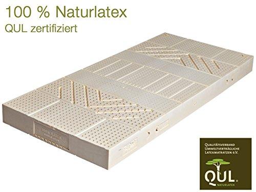 LaModula Natur-Latexmatratze Peter 90x200 cm mit 7-Zonen, 100% Naturlatex QUL-Zertifiziert, Bezug 100% Baumwolle KBA, 20 cm Höhe