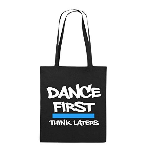 Comedy Bags - Dance first think laters - Jutebeutel - lange Henkel - 38x42cm - Farbe: Schwarz / Weiss-Pink Schwarz / Weiss-Hellblau