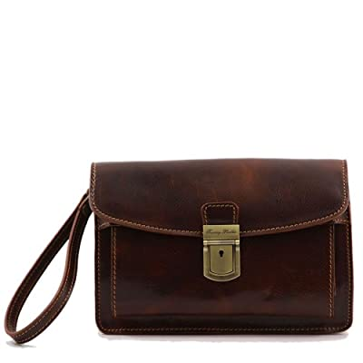 Tuscany Leather - Sacoche cuir - Marron - Homme