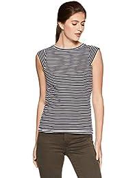 Symbol Amazon Brand Women's Striped Slim Fit T-Shirt