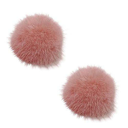 Tooky, set con 2 pompon di pelo rimovibili, a clip, per scarpe da donna o per pochette, perfetti come accessorio per un matrimonio  e lega, colore: pink, cod. pl-1