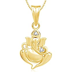 Amaal Ganesha Ganpati God Pendant with Chain for Men,Women Gold Plated in American Diamond Cz Jewellery GP0270