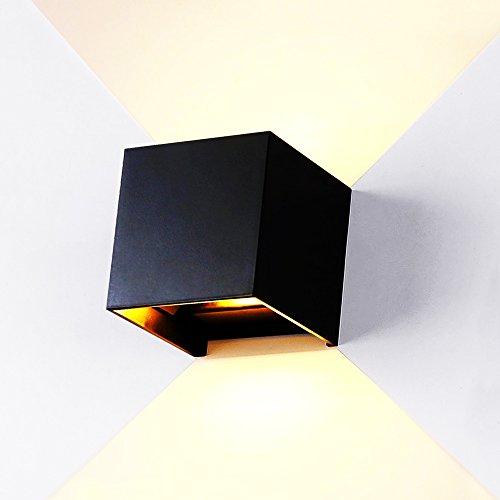 12W LEDWaterproof IP65 Wandleuchten Dimmer Aluminium Wall Lamp Innen Außen Badezimmer Indoor/Outdoor für Wohnzimmer, Bad, Flur, Balkon, Treppen, Pfad, Terrasse[Energy Class A+] (Aluminium Outdoor Wandleuchte)