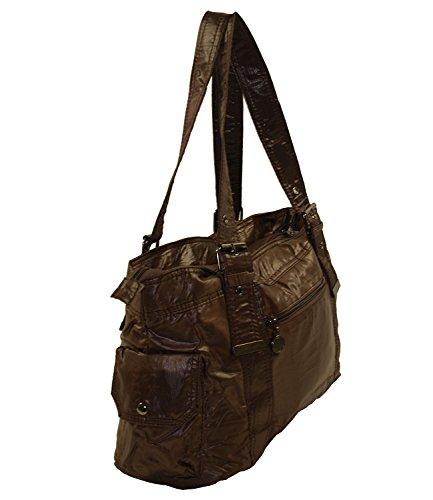 wasserabweisende Stoff Handtasche Shopper Damentasche Tasche Bag 4013-6 (Mocca) Coffee