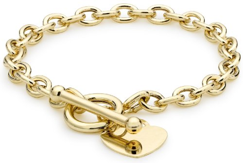 Carissima Gold Women's 9 ct Yellow Gold Oval Belcher Heart Tag T-Bar Bracelet of Length 19 cm/7.5 Inch 1.24.1472
