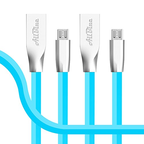 Micro USB Kabel, AllBlue High Speed 2m Rhombus Wohnung Zink-Legierung Micro USB 2.0 Sync und aufladen Datenkabel für Samsung Galaxy S7 / S7 Edge-Nexus LG HTC Android Smart Phones und Mehr (Blau 2pack)