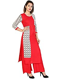 SVK Etail Rayon Straight Printed Round Neck Red Black Women's With Palazzo Set (Pack Of 2)