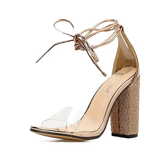 Damen High Heels Sandalen Transparente Peep Toe Sandalen Knöchel Schnalle Party Freizeit Hochzeit Abend Sommer Schuhe Gold 42 EU Gold Peep Toe Schuhe