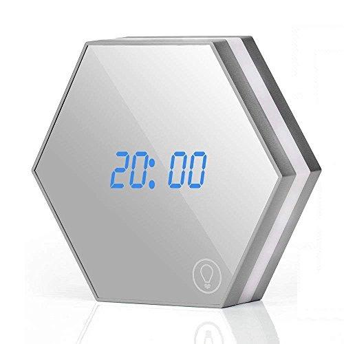 MUTANG Mirror Surface Alarm Clock Detección táctil Smart Clock LED Pantalla Digital con luz Nocturna, termómetro, Calendario y Reloj
