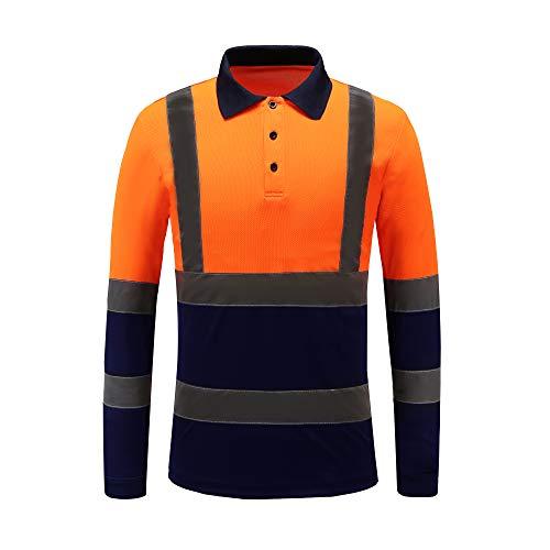 Hi viz Marinekragen Sicherheits Arbeitskleidung Hoch Visibility Polo T Shirt Sicherheits-Polo-Shirt Langarm (orange, XL)