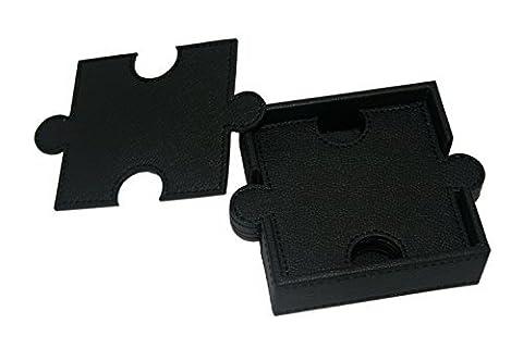 WOOSAL 6 Stück Doppelstock Puzzle Leder Achterbahnen mit Coaster Halter (Schwarz)