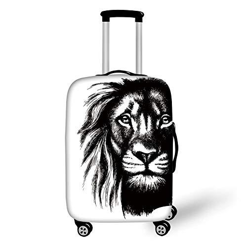 Travel Luggage Cover Suitcase Protector,Lion,Wild African Safari Life Animal Predator Hunter Dangerous Mammal Sketchy Portrait Decorative,Black White,for Travel,L -