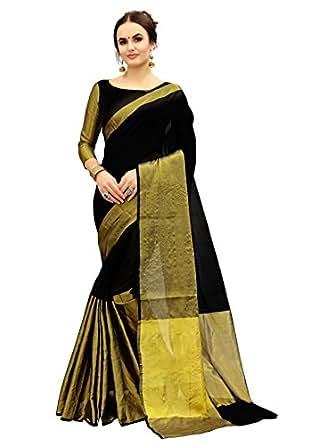 Glory Sarees Women's Cotton Saree With Blouse Piece (Jari103 _Black And Gold)