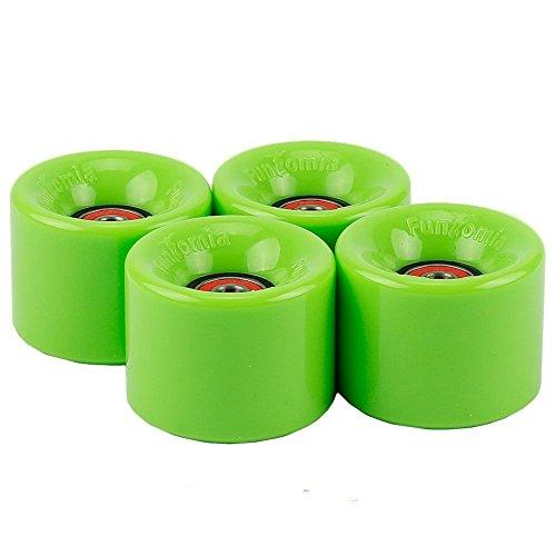 4 Stück FunTomia® Mini-Board / Skateboard Rollen in 59x45 mm 82A inkl. Mach1® Kugellager und Metall Spacer (Grün - 59mm x 45mm)