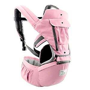 All-in-one Safe Baby Travel Carrier - Designed with Hip Seat - Soft & Breathable - Protective Leg Pad - Multi Position Carrying Perfect for Infants, Babies & Toddlers (Pink)   2