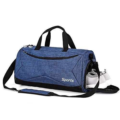 TOBWOLF Sport Sporttasche, mittlere Reise-Seesack mit Schuhfach, Separate, trockene, nasse Tasche, Leichter (Blau)