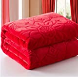 #8: SRS Floral Embossed Double Bed Blanket RED- Free Delivery & Complimentary Stylish SRS Blanket Bag
