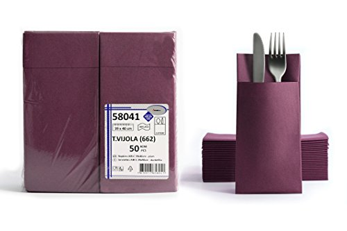 Felt Tableware Pocket Set Purple Plum and Done Gefaltene Airlaid Disposable Napkins with Slot Plain Colour: 40 x 40 cm Pack of 50 1/8 Fold Cutlery Case Great Value Fabric Look Wedding Napkins Birthday Wedding 17 Colours Plum