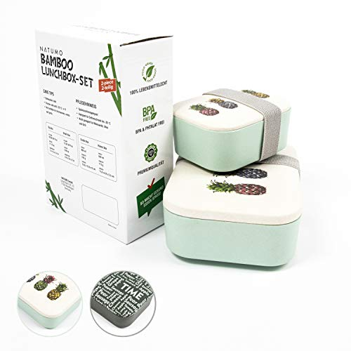NATUMO Premium Lunchbox 2er Set – Lebensmittelecht BPA Frei – Essensbox Brotdose Brotzzeitbox Snackbox Vesperdose