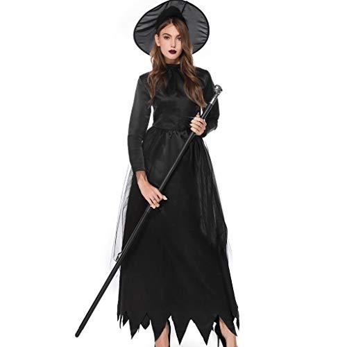 Girls Vampir Kostüm Gothic - BIKETAFUWY Halloween Damen Kleid Steampunk Gothic Korsagekleid Magisches Hexenkostüm Teufelchen Satan Hexe Vampir Kostüm Halloween Party Schwarz Partykleider Vintage mit Hut
