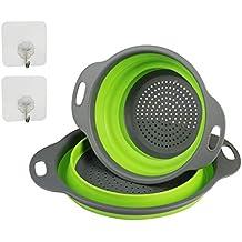 ZoomSky 2pcs colador Plegable Silicona Filtro de escurridor de coladores de  Pasta de Dos tomaño con 34a8f13f2cce