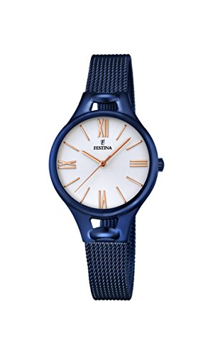 Festina MADEMOISELLE Women's Quartz Watch with Silver Dial Analogue Display and Blue Stainless Steel Plated Bracelet F16953/1