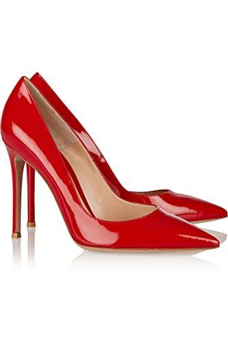 EDEFS Femmes Artisan Fashion Escarpins Délicats Classiques Elégants Pointus Des Couleurs Chaussures à talon de 100mm Noir Brillant Rouge Brillant