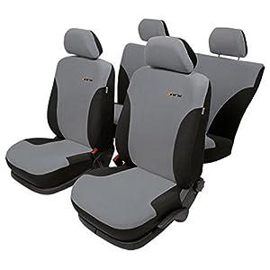 ZentimeX Z924888 Sitzbezüge Vordersitze + Rückbank Stoff grau / schwarz
