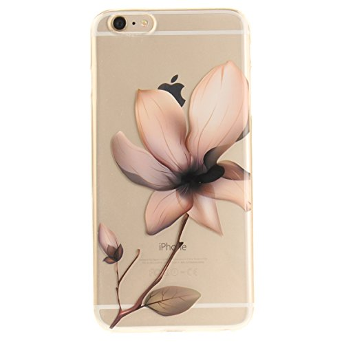 iPhone 6S Plus Hülle, iPhone 6 Plus Hülle, Gift_Source [ Blaue Traumblume ] Hülle Case Transparent Weiche Silikon Schutzhülle Handyhülle Schutzhülle Durchsichtig TPU Crystal Clear Case Backcover Bumpe E1-Magnolie
