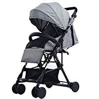 Aocean Trollers Toddler Pram,Four Wheel Pushchair with One Hand Fold, Small Foldable,Buggy Lying Position, Height Adjustable Push Handle, from Birth to 25 kg, Bumper Gray