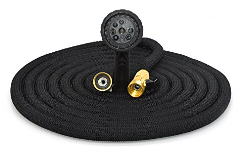 4e8b5913b4d1 Gardenone 100ft Polyester Non-Kink Expandable Garden Hose Pipe with with  Superior Solid Brass Hose Tap connectors Professional 8 Function Spray Head  ...
