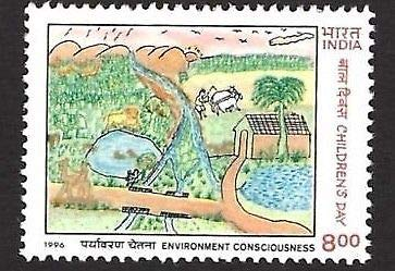 India 1996 Children's Day Village Painting Art 1v Stamp MNH