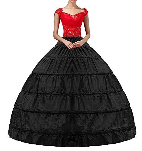 YULUOSHA Damen Lang Reifrock Hochzeit 6 Hoop Unterrock Crinoline Petticoat Fuer Abendkleider Ballkleider Promkleider Hochzeitskleider Brautkleider Vintage Krinoline Underskirt (Schwarz)