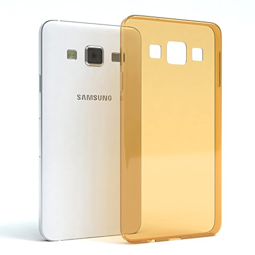 Samsung Galaxy A3 (altes Modell) Hülle - EAZY CASE Ultra Slim Cover TPU Handyhülle Matt - dünne Schutzhülle aus Silikon in Transparent / Weiß Clear Gold