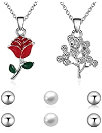 Lorsoul Cadena de Las Mujeres Europeas del Estilo de Rose Pendenat Chica Collar Chispeante del Rhinestone con la joyería de Perlas Regalo